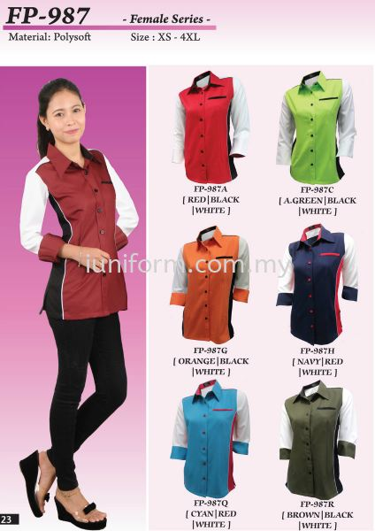 FP-987 SERIES (1) LADIES LONG SLEEVE CORPORATE WEAR  Johor Bahru (JB), Skudai, Impian Emas Supplier, Manufacturer, One Stop | I Uniform & T Shirt