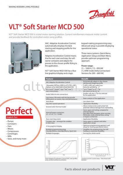 VLT SoftStarter MCD500 VLT SoftStarter MCD500 Malaysia, Selangor, Kuala Lumpur (KL), Subang. Supplier, Suppliers, Supply, Supplies | ALTV Engineering Sdn Bhd