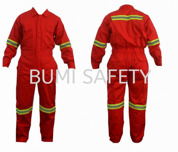 100% Cotton Coverall Red c/w Lime Green Reflective  Coverall Protective Clothing Selangor, Kuala Lumpur (KL), Puchong, Malaysia Supplier, Suppliers, Supply, Supplies   Bumi Nilam Safety Sdn Bhd
