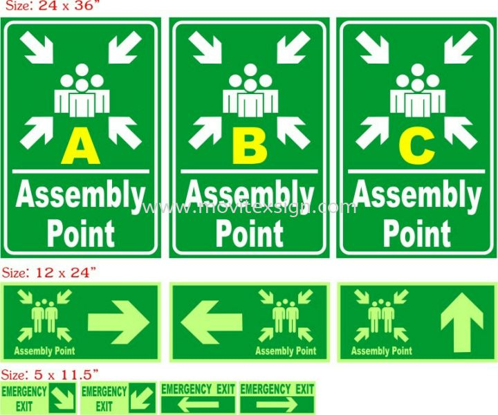 Assembly point signage with nigh glow effect  safety sign sample Johor Bahru (JB), Johor, Malaysia. Design, Supplier, Manufacturers, Suppliers | M-Movitexsign Advertising Art & Print Sdn Bhd