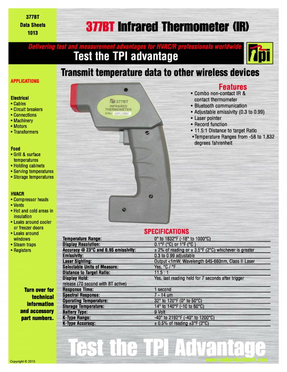 TPI-377BT Bluetooth Enabled Infrared Thermometer TPI (Test Products International, USA) Measuring Instrument Subang Jaya, Selangor, Kuala Lumpur (KL), Malaysia. Supplier, Supplies, Manufacturer, Wholesaler | Culmi Air-Cond & Refrigeration Parts Supply Sdn Bhd