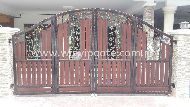 WAE 1754 Wrought Iron Metal Folding Gate and Fully Aluminum Wood Plate Black Selangor, Malaysia, Balakong, Kuala Lumpur (KL) Service, Supplier, Supply, Installation | Win Yip Gate & Roof Sdn Bhd