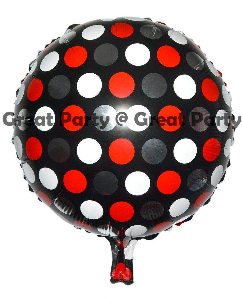 18 inch Black Balloon With Mix Dot