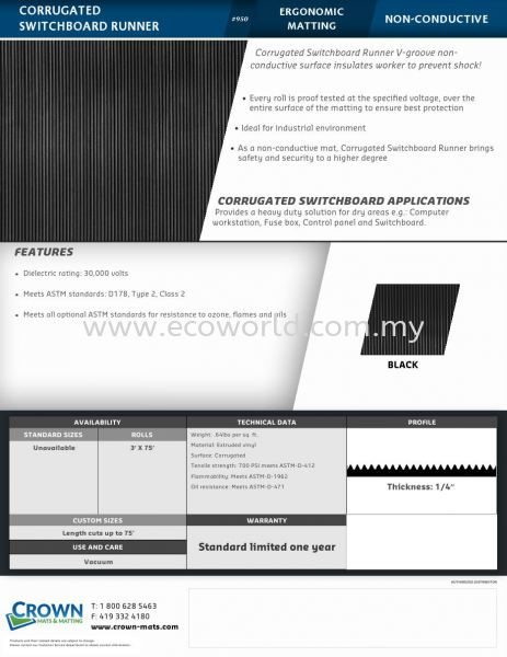 Corrugated Rubber and Swithboard Matting ( Non Conductive Mat) Industrial Specialty Mat Malaysia, Johor Bahru (JB) Supplier, Supply, Supplies | ECO WORLD HYGIENE (M) SDN BHD