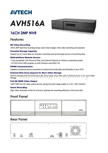 AV TECH - AVH516A AV Tech IP Camera / Network Video Recorder Johor Bahru (JB), Kulai Supplier, Supplies, Installation | Castle Alarm System & Automation