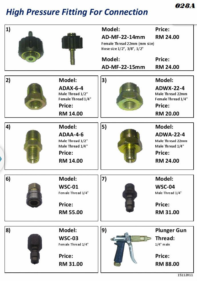 High Pressure Fitting For Connection High Pressure Parts and Fitting Cleaning Machinery Selangor, Kuala Lumpur (KL), Semenyih, Malaysia Supplier, Suppliers, Supply, Supplies   GWM Marketing Sdn Bhd