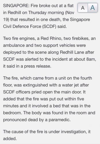 One killed in Redhill fire case (19/11/15)