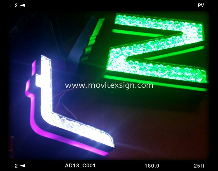 Diamond 3D lettering with lighting made of 3D printer in our letters technology of signage industry makes your store look eye-catching (click for more detail) LED Signage LED Signage and Neon Signboard Johor Bahru (JB), Johor, Malaysia. Design, Supplier, Manufacturers, Suppliers   M-Movitexsign Advertising Art & Print Sdn Bhd