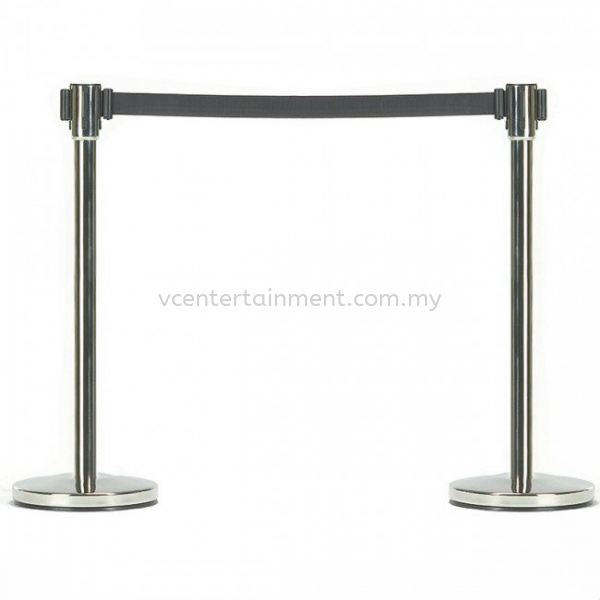 Silver Queue Up Stand with Retractable Belt Black Queue Stand Display & Safety Kuala Lumpur (KL), Selangor, Malaysia. Rental | VC Entertainment Sdn Bhd