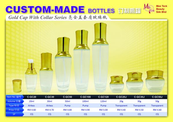 Gold Cap with Collar Series CUSTOM-MADE BOTTLE SERIES Cosmetic Bottle Malaysia, Johor Bahru (JB) Supply Suppliers Supplies   Mee Teck Beauty Sdn. Bhd.