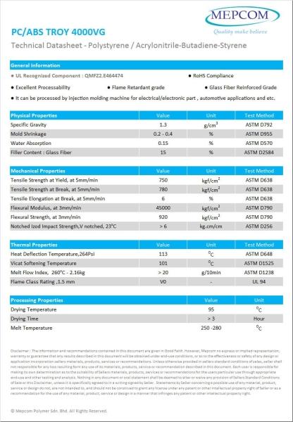 PC/ABS TROY 4000VG Polycarbonate / Acrylonitrile Butadiene Styrene (PC/ABS) Malaysia, Johor Bahru (JB) Service, Manufacturer   Mepcom Polymer Sdn Bhd