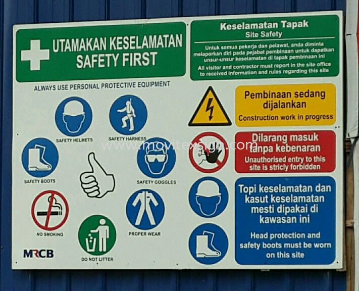 construction sites signboard /strictly prohibited  Safety Sign Sample Industry Safety Sign and Symbols Image Johor Bahru (JB), Johor, Malaysia. Design, Supplier, Manufacturers, Suppliers | M-Movitexsign Advertising Art & Print Sdn Bhd