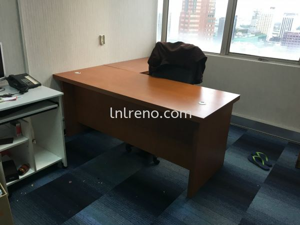 Custom made office table with nyatoh stain finish in malaysia. (FREE QUOATATION) Office Cabinet Petaling Jaya (PJ), Selangor, Kuala Lumpur (KL), Malaysia. Design, Renovation, Decoration | LNL Reno Enterprise
