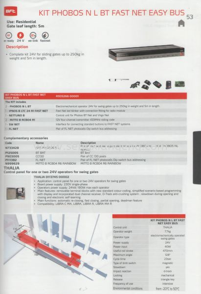 Kit Phobos NL BT Fast Net Easy Bus BFT Autogate System Johor Bahru JB Electrical Works, CCTV, Stainless Steel, Iron Works Supply Suppliers Installation  | Seng Xiang Electrical & Steel Sdn Bhd