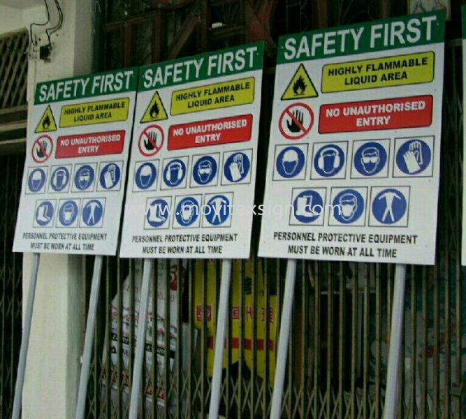 safety fist sign johor or  construction sign or Prohibited entry SIGN Safety Signage safety sign sample Johor Bahru (JB), Johor, Malaysia. Design, Supplier, Manufacturers, Suppliers | M-Movitexsign Advertising Art & Print Sdn Bhd