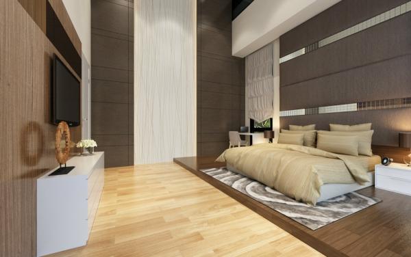 Master Bedroom with high bedhead Master Bedroom Modern Contemporary Interior Design for Mr. Wai Bungalow house in Ampang Shah Alam, Selangor, Kuala Lumpur (KL), Malaysia Service, Interior Design, Construction, Renovation | Lazern Sdn Bhd