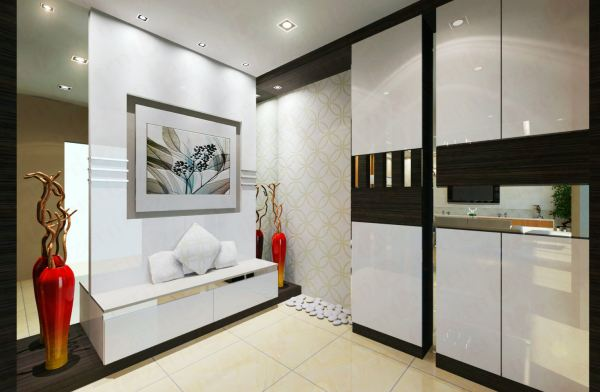 Foyer area with white color feature wall & both side clear mirror Foyer Area Modern Interior Design for Mr. Lim Semi D house in Seri Kembangan Shah Alam, Selangor, Kuala Lumpur (KL), Malaysia Service, Interior Design, Construction, Renovation | Lazern Sdn Bhd