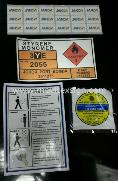 label  stickers for indoor outdoor industry used  Label Jb or sticker sign or adhesive Safety label safety sign sample Johor Bahru (JB), Johor, Malaysia. Design, Supplier, Manufacturers, Suppliers | M-Movitexsign Advertising Art & Print Sdn Bhd