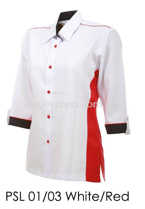 PSL 01 03 White Red Ladies Corporate Shirt