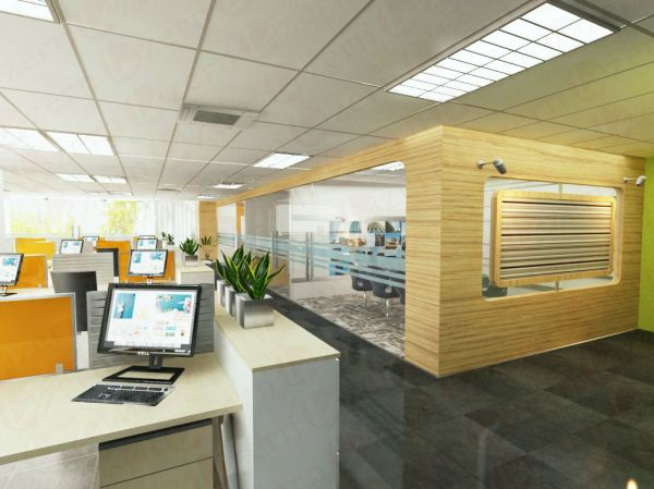 Laminated wall partition with tempered glass Workstation Area Modern Interior Design for CK Office in Shah Alam Shah Alam, Selangor, Kuala Lumpur (KL), Malaysia Service, Interior Design, Construction, Renovation | Lazern Sdn Bhd