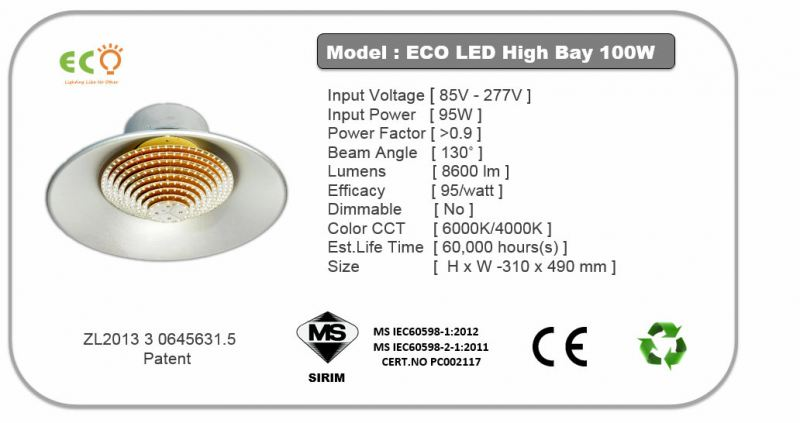 HIGHBAY 100W LED HIGHBAY  ECO HB SERIES Kluang, Johor, Malaysia Supplier Supply Manufacturer | ECO LED LIGHTING SOLUTION (M) SDN BHD