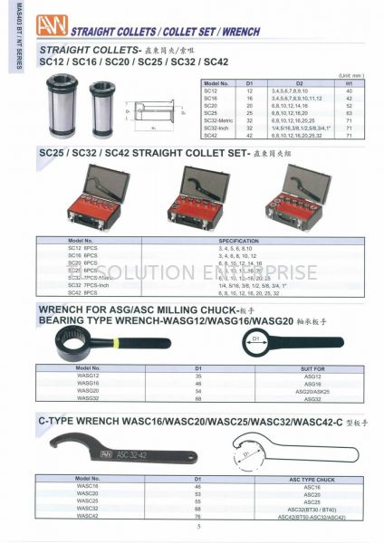 Straight Collet -Wrench Ann Way-Machine Tools-Holder-Collet Tooling Johor Bahru (JB), Malaysia Supplier, Suppliers, Supply, Supplies | TL Solution Enterprise