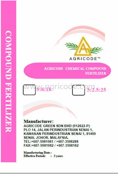 AGRICODE COMPOUND FERTILIZER NPK 9:6:18 & 5:25:2.5 Compound Fertilizer Series Johor Bahru (JB), Johor. Supplier, Suppliers, Supply, Supplies | Agricode Green Sdn Bhd