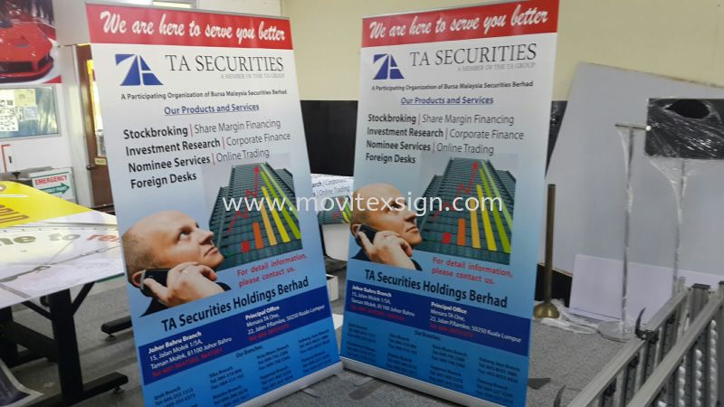 roll up banner 46 x 7ft (click for more detail) Banner and Bunting / Roll Up Banner / Pop Up System / Mini Flat Johor Bahru (JB), Johor, Malaysia. Design, Supplier, Manufacturers, Suppliers | M-Movitexsign Advertising Art & Print Sdn Bhd