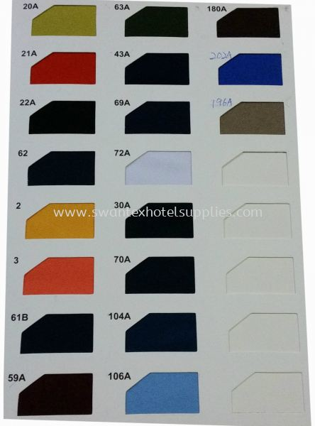 Colour: 20A TO 196A Table Skirting Johor Bahru (JB), Malaysia Supplier, Suppliers, Supply, Supplies   Swantex Hotel Supplies