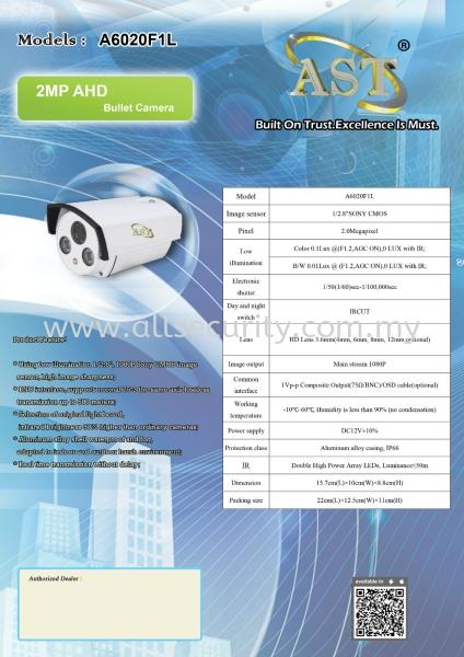 2MP AHD Bullet Camera A6020F1L AHD Camera  CCTV Singapore, Malaysia, Johor, Selangor, Senai Manufacturer, Supplier, Supply, Supplies   AST Automation Pte Ltd