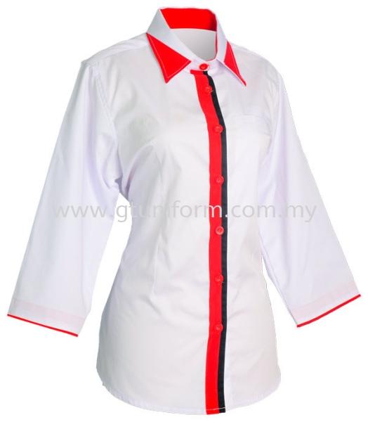 READY MADE UNIFORM F0712 (White & Red & Black) Series 7 - Mini Drill Corporate Uniform Selangor, Kuala Lumpur (KL), Malaysia Supplier, Suppliers, Supply, Supplies   GT Uniform Sdn Bhd