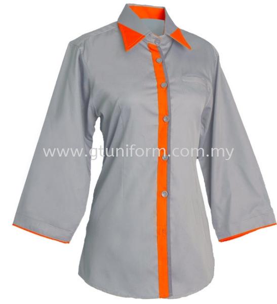 READY MADE UNIFORM F0715 (Grey & Orange & D.Grey) Series 7 - Mini Drill Corporate Uniform Selangor, Kuala Lumpur (KL), Malaysia Supplier, Suppliers, Supply, Supplies   GT Uniform Sdn Bhd