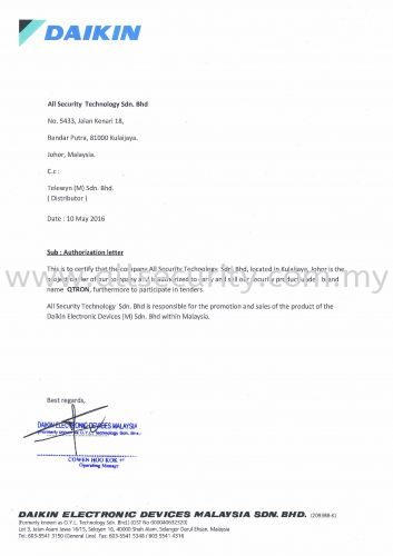 DAIKIN Authorization Letter