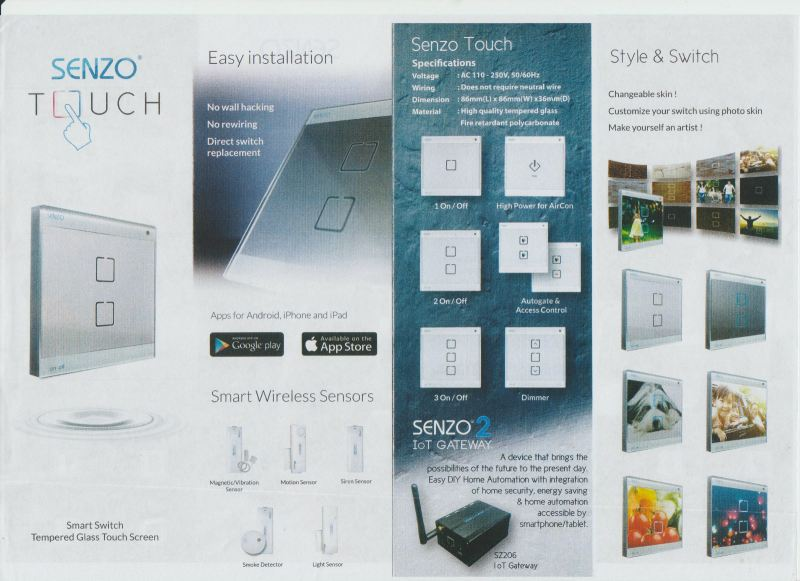 SENZO TOUCH SMART SWITCH Kulai, Johor Bahru (JB), Johor. Security System, Installation, Supplier, Supplies | Prime Electrical Alarm & Auto Gate Centre