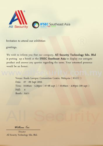 Exhibition-  IFSEC Southeast Asia 2016 ( KLCC )
