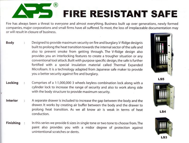 APS Fire Resistant Safe Series L-Safe / Fireresistance Safe  SECURITY BOX/ SAFETY BOX Malaysia, Selangor, Kuala Lumpur (KL), Puchong Supplier, Suppliers, Supply, Supplies | NSY Office System