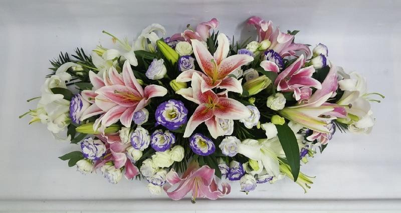 Lily Eustomas Table Arrangement (BA-128) Long And Low Flower Arrangement Basket Arrangement Kuala Lumpur (KL), Selangor, Malaysia Supplier, Suppliers, Supply, Supplies | Shirley Florist