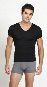 UW154 - Men¡¯s Black Short-Sleeve Undershirt Men's Black Collection Neoron Story Singapore Supplier, Supply, Supplies, Clothing   Miracle Negative Ions