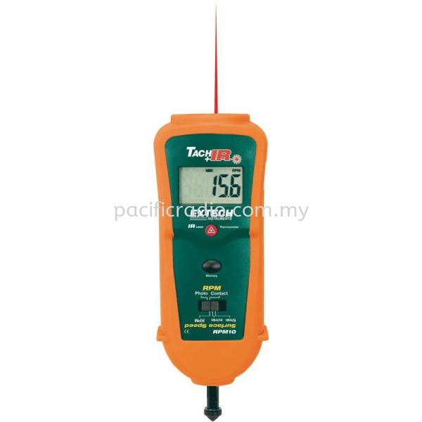 Extech RPM10 Photo/Contact Tachometer with built-in InfraRed Thermometer EXTECH Thermometer Malaysia, Kuala Lumpur, KL, Singapore. Supplier, Suppliers, Supplies, Supply | Pacific Radio (M) Sdn Bhd