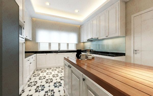 Wooden top for Victorian Kitchen's Island is a good picked. Kitchen Modern Tropical & Victorian Interior design for Ms. Tong's Semi-D House in Kota Kemuning Shah Alam, Selangor, Kuala Lumpur (KL), Malaysia Service, Interior Design, Construction, Renovation | Lazern Sdn Bhd