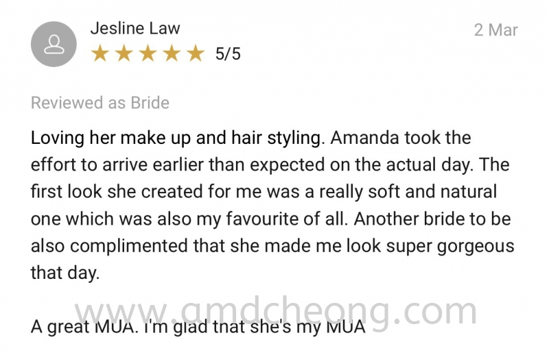 Testimonials Singapore Service | Amanda Cheong Make Up Artist