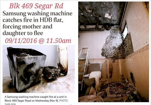 WASHING MACHINE CATCHES FIRE IN A BUKIT PANJANG FLAT (9/11/16)