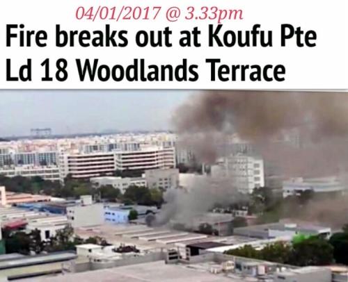 FIRE BREAKS OUT AT KOUFU PTE LTD (4/1/17)