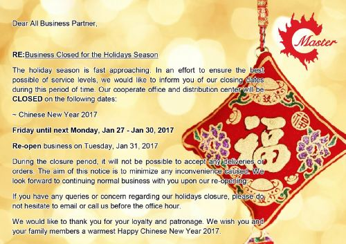 Closed for CNY 2017