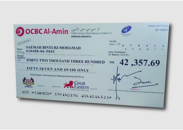 Mock Up Cheque Mock Cheque Large Format Printing Selangor, Malaysia, Kuala Lumpur (KL), Puchong Services, Design | Esprawell Sdn Bhd
