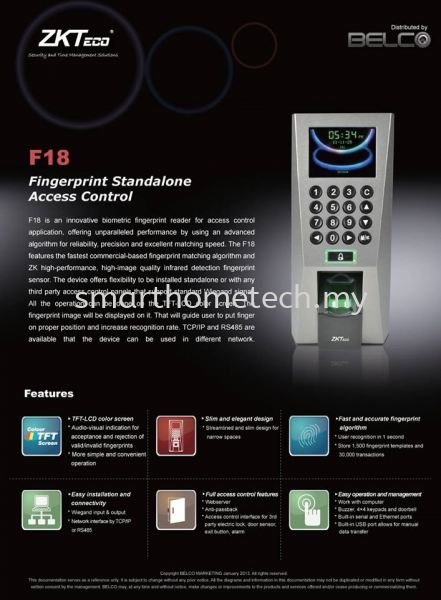 ZKT F18 Standalone FingerPrint Reader Attendance Finger Print Recognition System Office System Melaka, Malaysia Supplier, Supply, Supplies, Installation | SmartHome Technology Solution