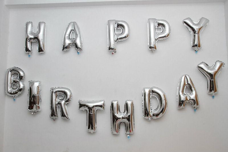 13pcs 16inch Alphabet Balloon (Happy Birthday) Silver