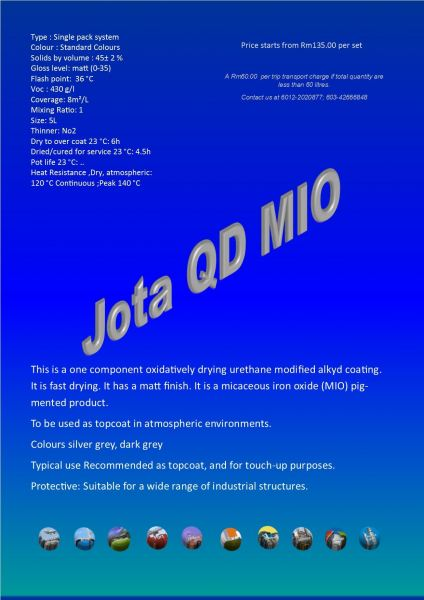 Jota QD MIO Single Topcoat Protective Coating Ampang, Selangor, Malaysia Supply, Supplier, Suppliers | Hst Solutions Sdn Bhd