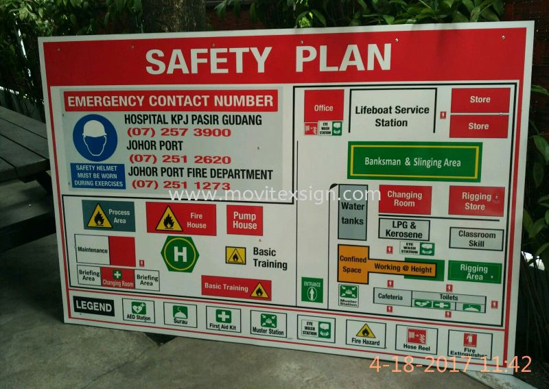 safety signboard/emergency floor plan signage for every entrance. Before u entering the factory. when fire outbreak u know where u are to Exit? safety sign sample Johor Bahru (JB), Johor, Malaysia. Design, Supplier, Manufacturers, Suppliers | M-Movitexsign Advertising Art & Print Sdn Bhd