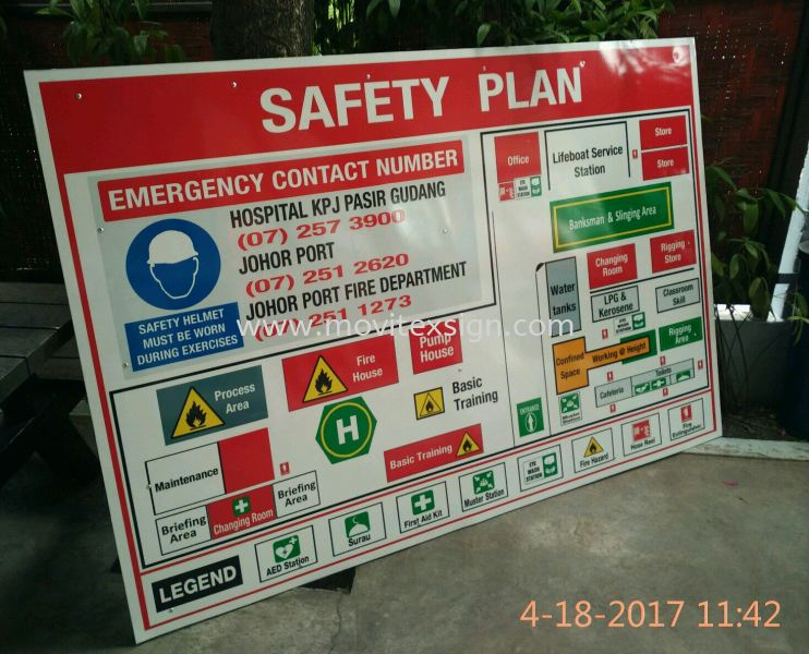 safety floor plan signboard Before u entering the factory to known where u are?. to Exit for life. safety sign sample Johor Bahru (JB), Johor, Malaysia. Design, Supplier, Manufacturers, Suppliers | M-Movitexsign Advertising Art & Print Sdn Bhd